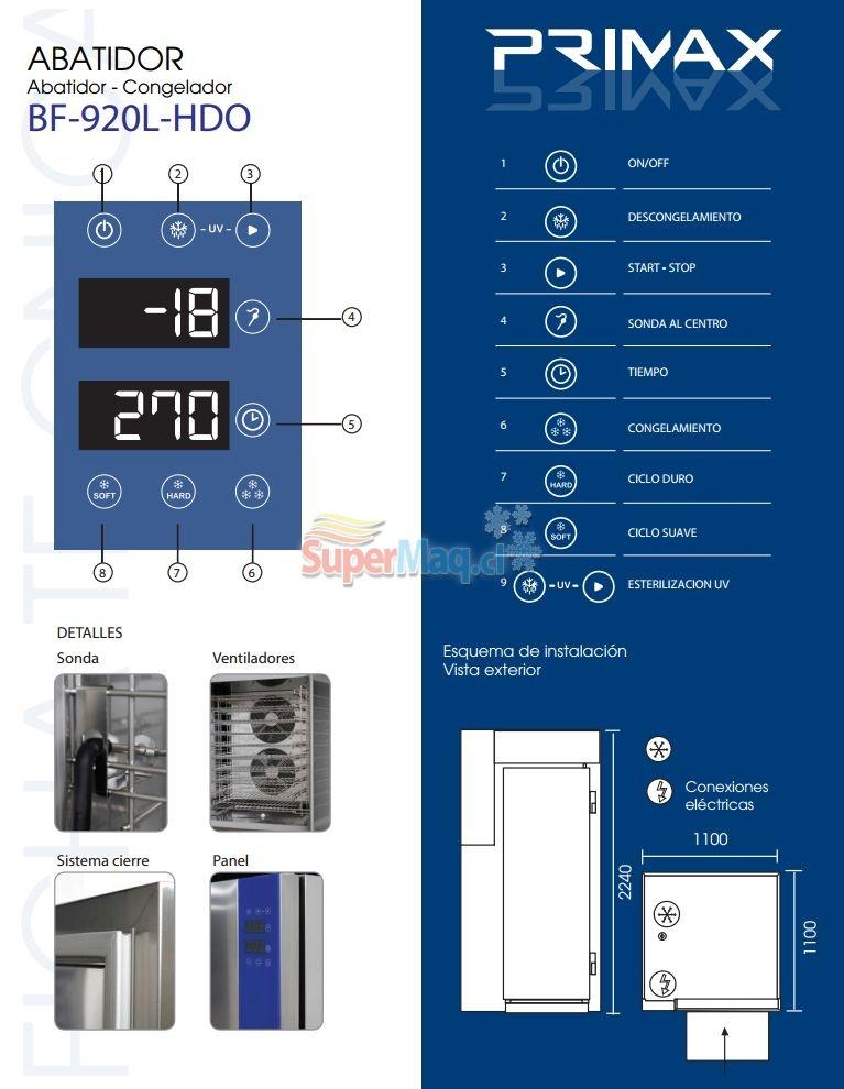 Abatidor Congelador 20 Bandejas 80 Kilos PRIMAX