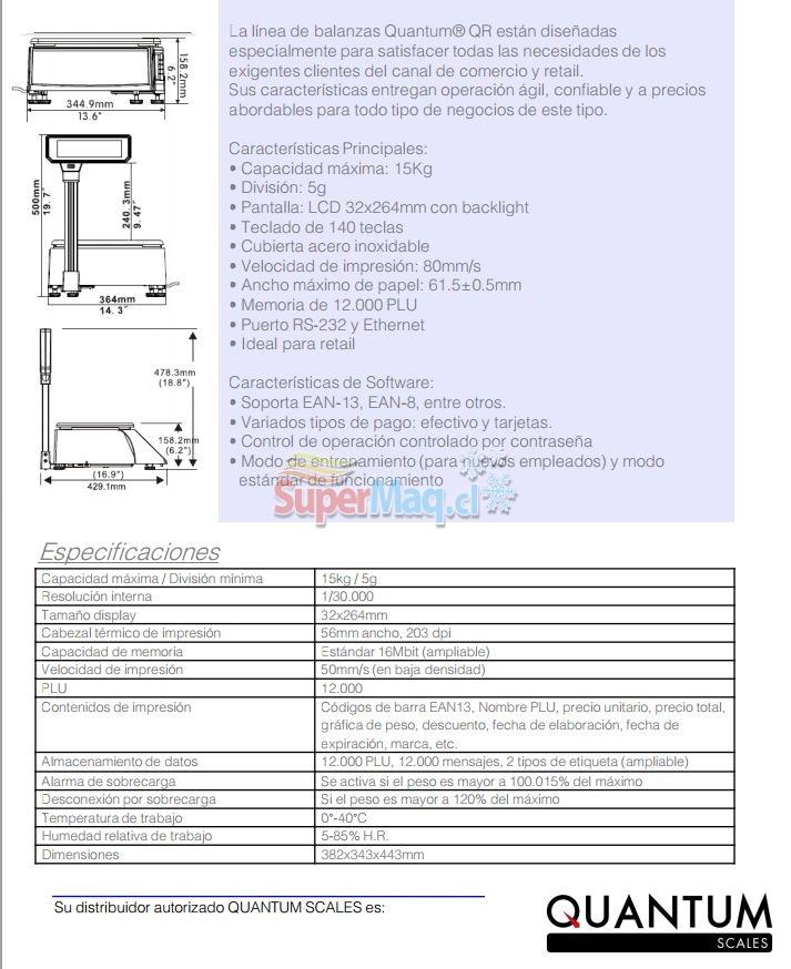 Balanza Tipificadora Vale y Ticket Quantum QR-800