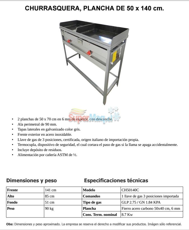 Churrasquera de 1.40x50 Cm Certificada