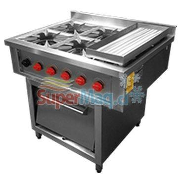Cocina de 4 platos con plancha y horno de 50x50 superchef - Cocinas con plancha incorporada ...