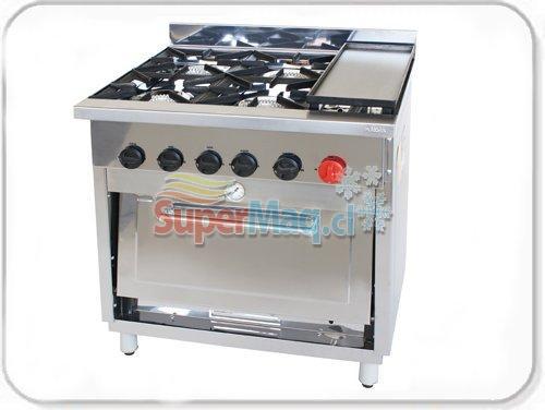 Cocina de 6 platos con horno de 55x55 y plancha eco cocinas - Cocina con plancha ...