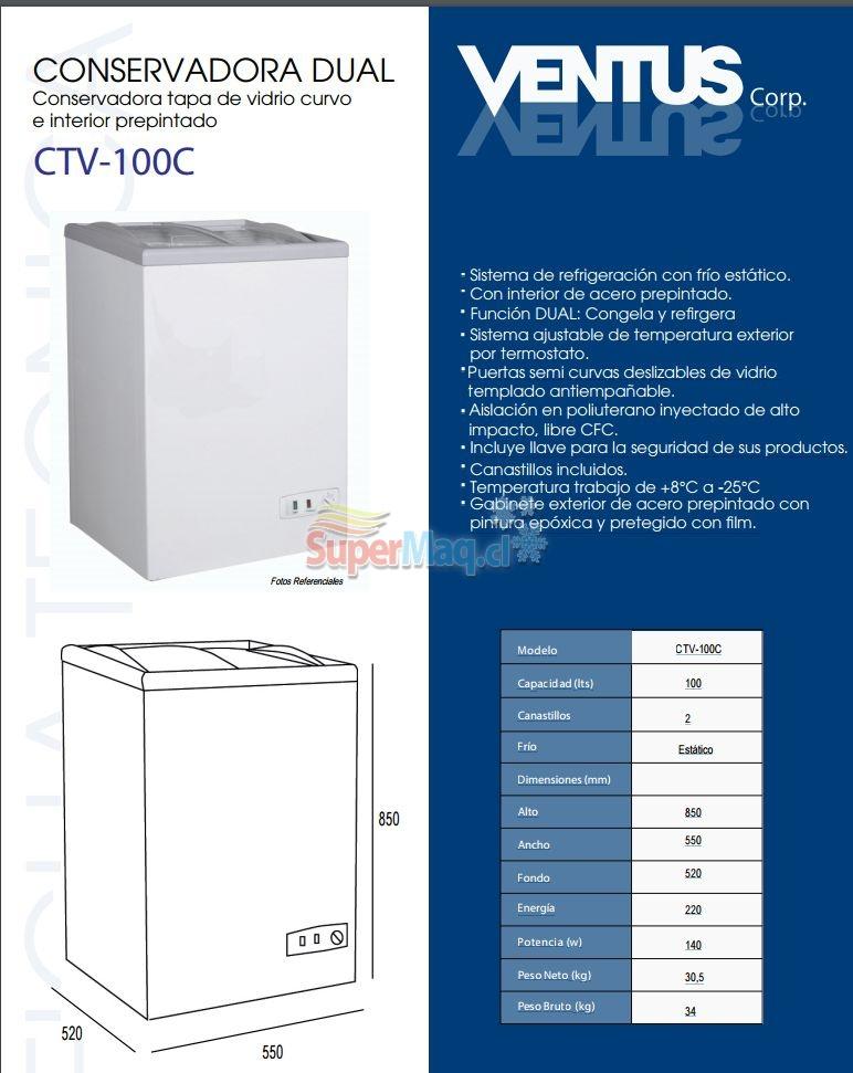 Congeladora 100 Litros Tapa de Vidrio SD100 Dual