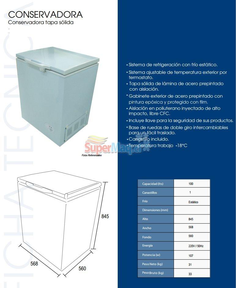 Congeladora 100 Litros Tapa solida BD100 Dual