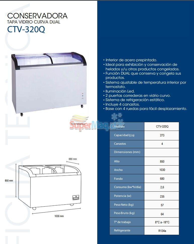 Congeladora 320 Litros Vidrio Curvo