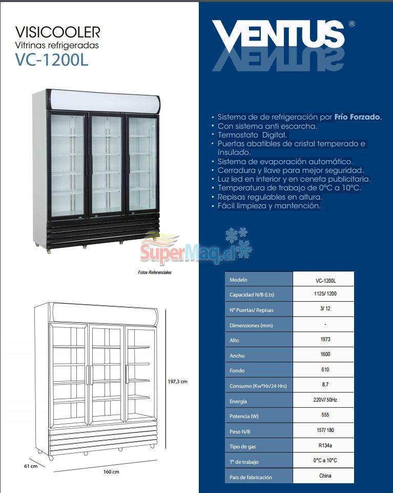 Cooler 1200 Litros 3 Puertas VC1200
