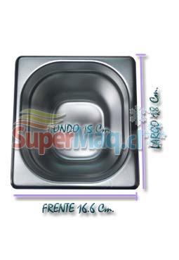 Deposito Gastronomico de Acero 16,6x18x15 Cm un sexto x 10