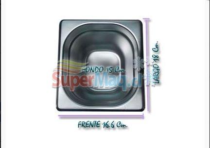 Deposito Gastronomico de Acero 16,6x18x15 Cm un sexto x 15