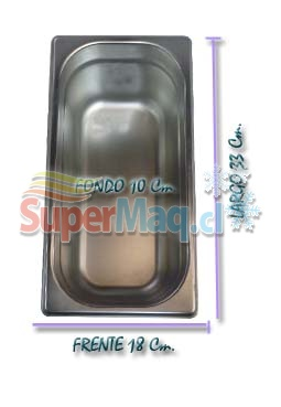 Deposito Gastronomico de Acero 18x33x10 Cm un Tercio x 10