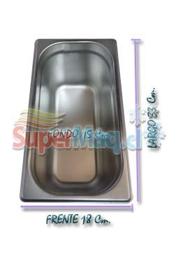Deposito Gastronomico de Acero 18x33x15 Cm un Tercio x 15