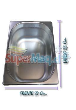 Deposito Gastronomico de Acero 27x33x10 un Medio x 10