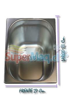 Deposito Gastronomico de Acero 27x33x15 un Medio x 15