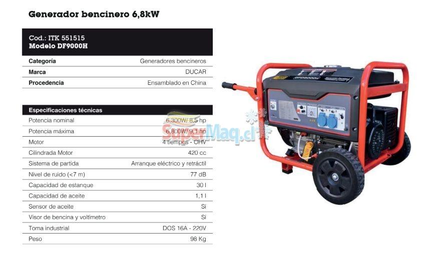 Generador 6.3 Kva Bencinero Ducar