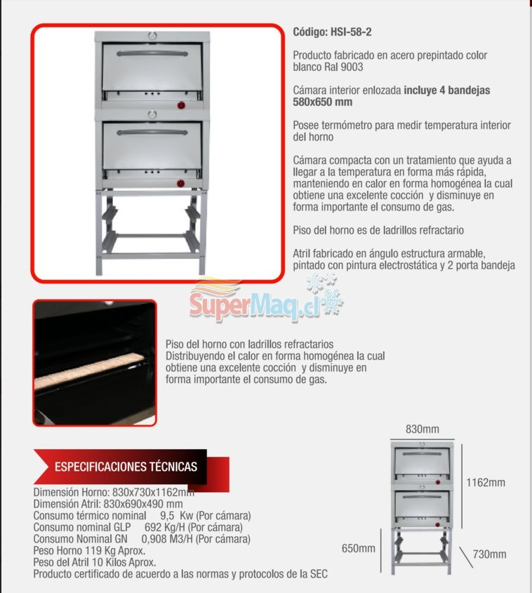 Horno a Gas 2 Camaras 58x65 Supermaq