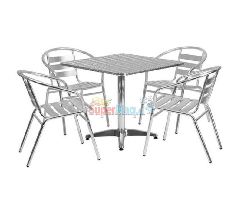 Juego Aluminio Mesa Cuadrada mas sillas con brazo