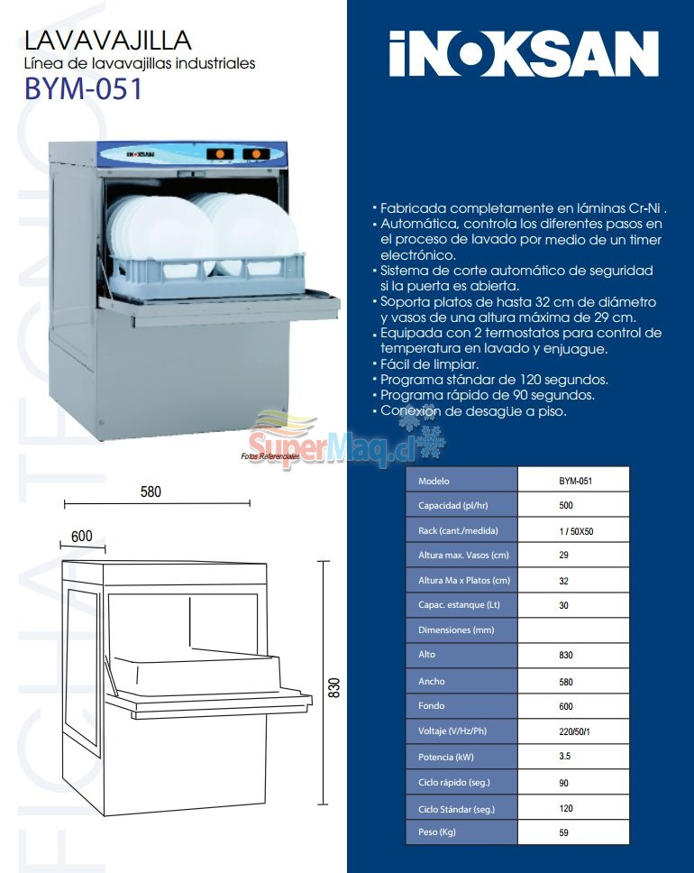 Lavavajillas Bajo Mostrador Panel Digital INOXSAN