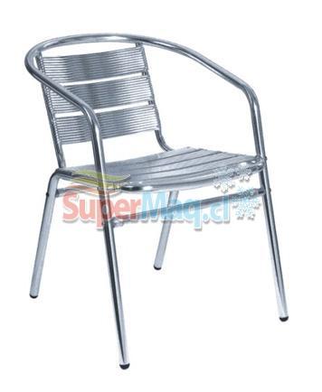Silla de aluminio con brazo sillas supermaq maquinas for Sillas de aluminio